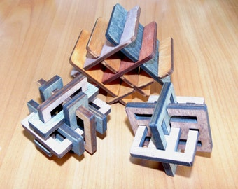 Set of 3 wooden 3D jigsaw puzzles - made in Ukraine!