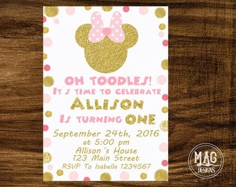 Pink and Gold Minnie Mouse Invitation - Pink and Gold Minnie Mouse Birthday Party Invitation - Minnie Mouse Invitation