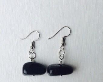 Onyx Earrings, Black Earrings, Minimalist Earrings, Delicate Earrings