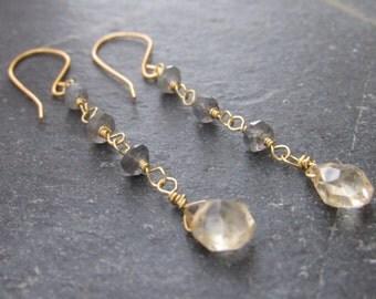 Citrine Earrings  Labradorite earrings gemstone earrings November birthstone earrings gift women gift for mom gift for her