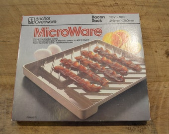 MicroWare Bacon Rack, Vintage Bacon Rack, Microwave Bacon Sheet, Anchor Hocking, Microwave Bacon, Oven Safe, Dishwasher Safe