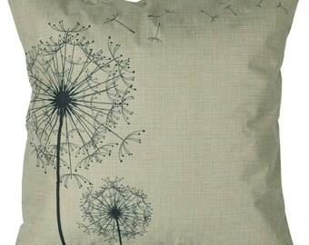 Dandelion Wish Linen Throw Pillow 18 inch x 18 inch
