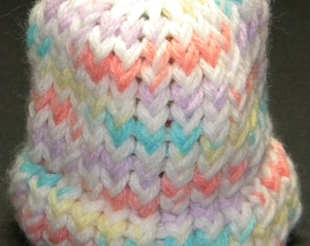 Knit Baby Hat in Pink, Blue, Yellow, & White