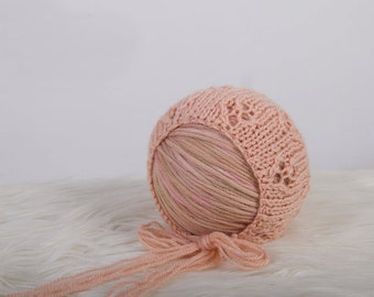 Sale - Ready To Ship - Newborn Bonnet - Photo prop - Choose Color