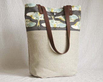 Canvas bag with leather handles