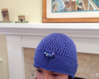 Blue Bead Embellished Beanie