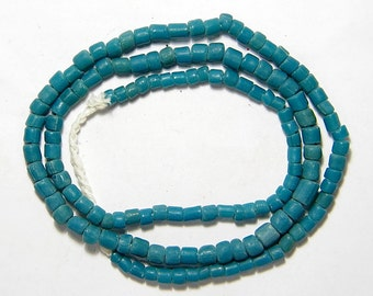 Desired Old Indo Pacific Padres Blue Green Glass Bead Trade Wind Tribal Strand #1238