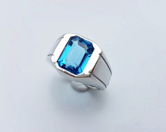 Blue Topaz Silver Ring, London Blue Topaz, 925 Sterling Silver,White Gold Plated