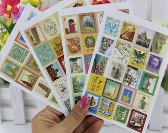 Vintage Italy Sticker Set/ Italian Stamp Stickers