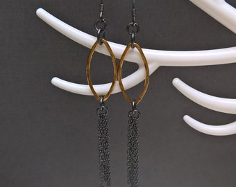 Oxidised silver earrings, black and gold earrings, gold hoops & silver chain earrings, hammered earrings, statement earrings, gift for her