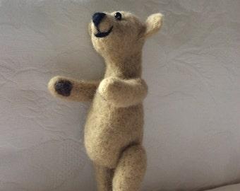 Tan Brown Teddy Bear. Needle Felted Bear. Gift Ideas, Keepsake. Fibre Art teddy