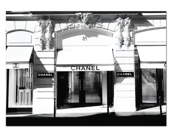 Chanel Paris Boutique Store Poster Print Coco Chanel Fashion Print Art Print - Chanel Store Chanel Shop Chanel Paris