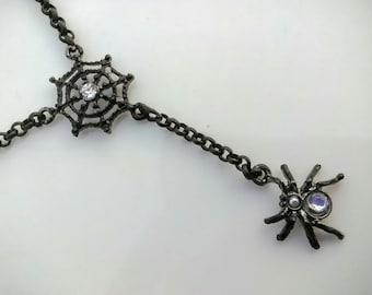 Spider and Web Y Necklace
