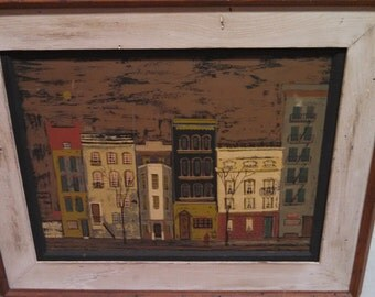 "Margaret Layton ""Jane Street"" Painting with Frame - NYC Artist GOUACHE Painting - Signed"