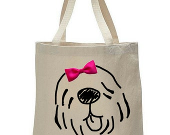 Dogs & Bow Ties: Old English Sheepdog Canvas Tote Bag