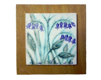 Ceramic Tile Wall Hanging of Bluebells