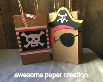 Pirate favor bags,pirate goodie bags, pirate party theme ,set of 10, pirate treat bags, pirate birthday party, pirate party goody bags,