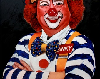 Photorealistic oil painting of a clown