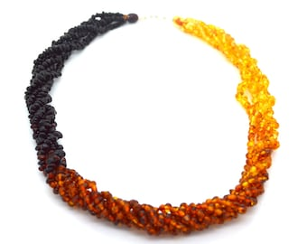 Natural Baltic Amber Beaded Necklace twisted multicolored women 55 cm or 51 cm long