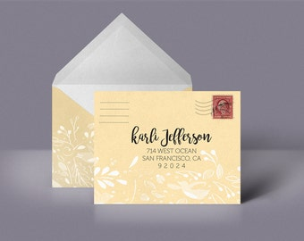 Yellow Custom Printable Envelope Stationery Woodland Pattern