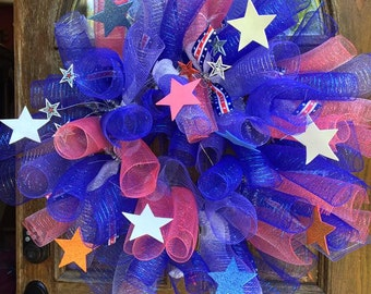 Memorial Day OR 4th Of July Deco Mesh Wreath
