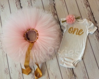 Gold and pink custom embroidery outfit, Age birthday outfit, custom birthday girls outfit. Age 1-5 outfit, curive one outfit, soarkly gold