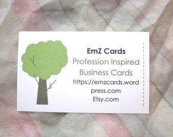 50 Custom Business Cards, Arborist, Agriculture, Trees, Plants, Horticulture, Landscape, EmZ Cards