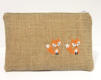 Burlap zipper pouch with cross stitch fox, jute bag, burlap bag, makeup bag, pencil case, gift for women