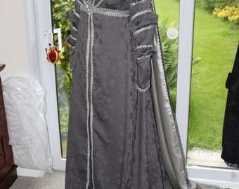 Renaissance inspired caped gown in damask with seed pearls - Empyrean Countess