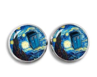 Starry Night Tardis Stud Earrings Doctor Who Earrings Van Gogh Jewelry Fangirl Fanboy