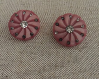 1950s Pink Button and Rhinestone Earrings