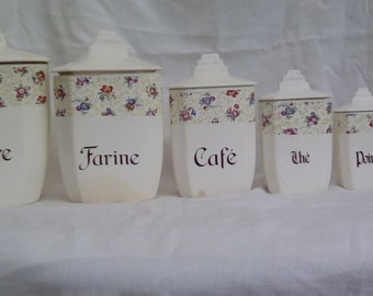 French vintage storage jars or canisters. Complete set of six.