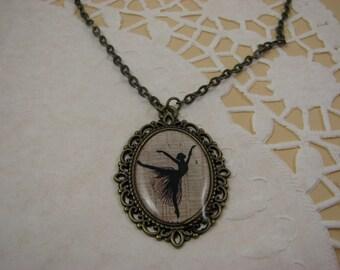 Dancer necklace – Dance pendant - Gift for Dancer - Dance recital gift – Vintage style pendant - Silhouette pendant - Art jewelry (P006)