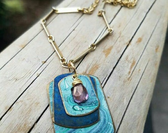 Marbled Patina Geometric charm necklace with mystic amethyst