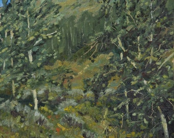 Oil painting: Forested mountainside near Driggs, ID