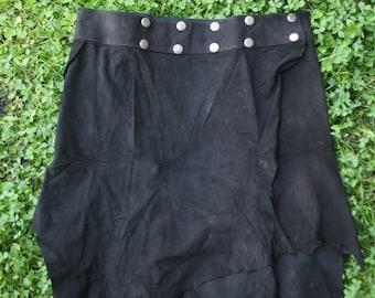 Leather skirt burning man festival, medieval - mid-century brown, caramell