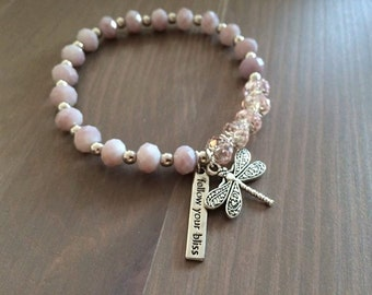 Handmade Follow Your Bliss Bracelet with Dragonfly Charm
