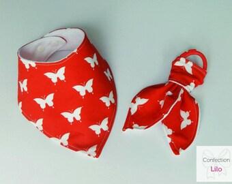 Bib style bandana butterfly and teether
