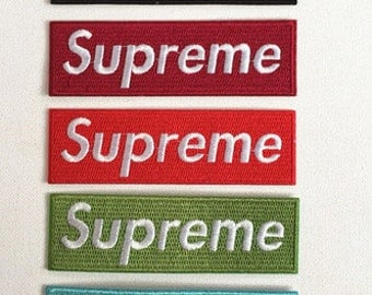 Red/Wine Red/Blue/Green/Black Embroidered Sup rem Wordings Patches Iron On Sew On Patches Cute Cool Back Patches