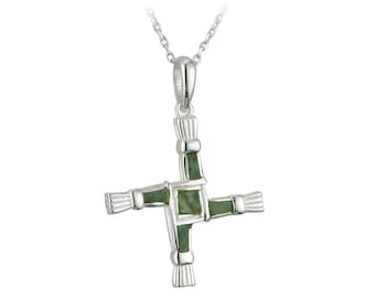 """Sterling Silver St. Brigid's Cross with Irish Connemara Green Marble Pendant and 18"""" Silver Chain"""
