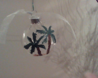 Hand Painted Glass Palm Tree Scene Ornaments