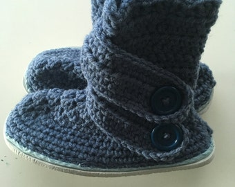 Crochet Slippers with Soles