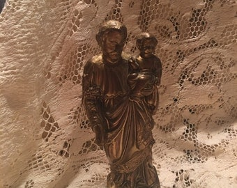 Antique Religious Statue  - Saint Joseph & Child Jesus
