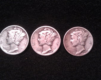 1.00 ship 3 sweet little mercury dimes 1943,42-d,40 inv026