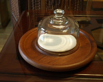 Teak Cheese Tray with Marble Plate and Glass Dome