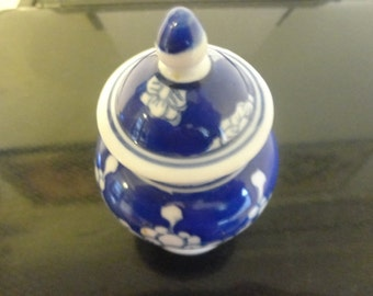 Vintage Chinese Jingdezhen Small Prunus Rose Lidded Jar