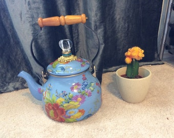 Blue and floral teapot
