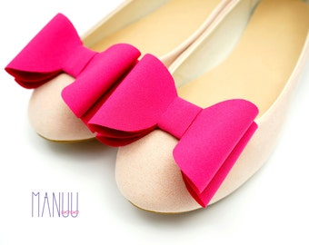 Raspberry pink bows - shoe clips Manuu, Bridal shoe clips, Wedding shoe clips