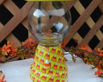 Faux - Gumball -  Fall - Clay - Pot - Candy Corn - Candy Dish - Yellow - Orange - Home Decor - Home Accent