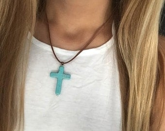 Light Brown Suede Cord Necklace with Turquoise Cross Pendant 16, 18, or 20 inches
